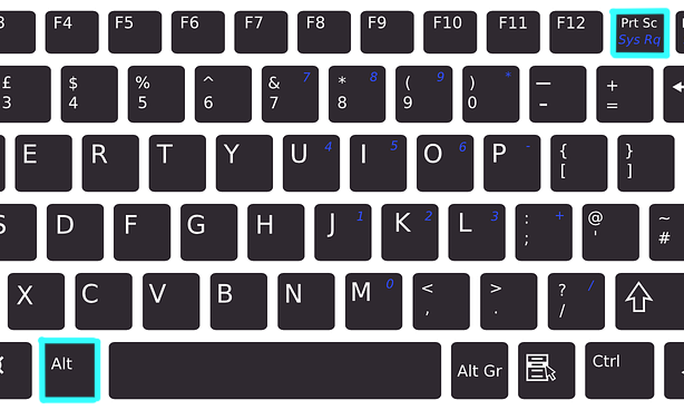 Image highlighting the alt and print screen keys on a Window's keyboard