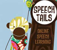 Illustration of a monkey and the words, Speech Tails: Online Speech Learning