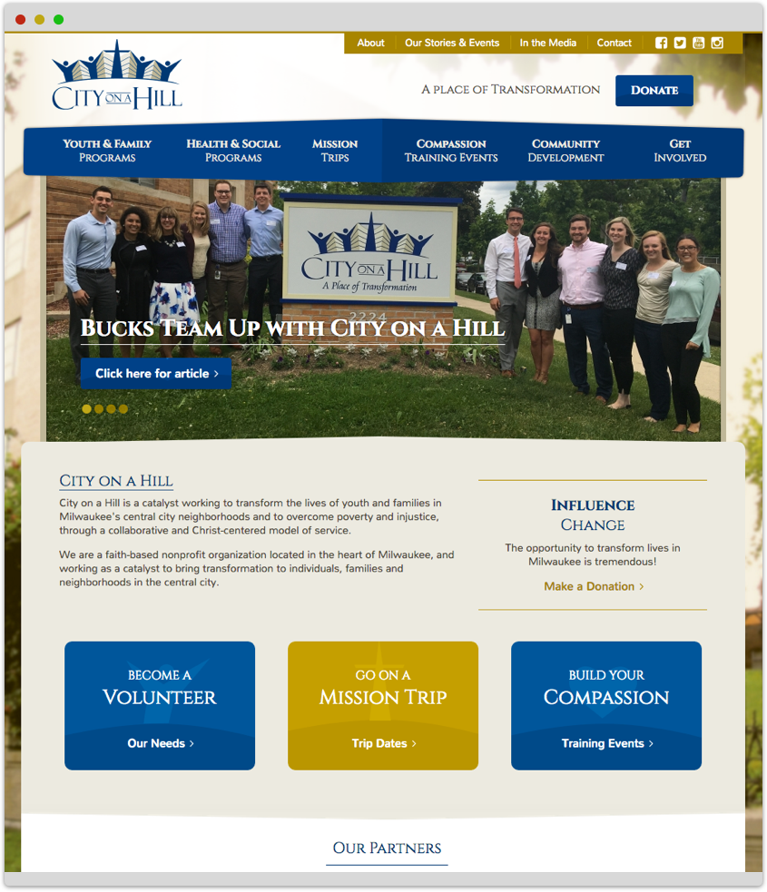 City on a Hill's home page