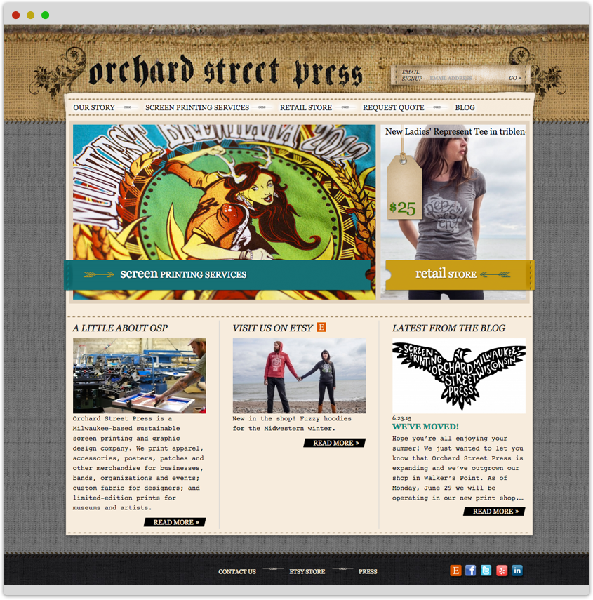 Screenshot of Orchard Street Press' home page